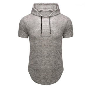 Manicotto casuale Tees Homme Designer Top uomo con cappuccio tempo libero fitness maglietta estate Moda Slim Fit Breve