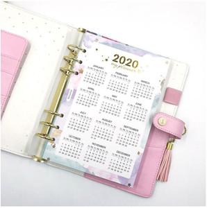 2020 год Календарь ноутбуки Индекса Делители Акварель Refill для A5A6 6 отверстий листьев Спираль ноутбук Diary школьных принадлежностей