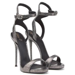 Wed2019 Snake Sandals Femme Grain Chaussures à talons hauts Hate Day High Révéler Avec Toe