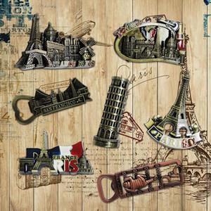 3D французский Париж модель здания настенные наклейки Эйфелева башня металлический холодильник магниты на холодильник съемный кухонный Магнит наклейка