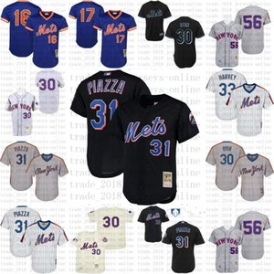 Ucuz New Gerileme York 33 Matt Harvey 30 Nolan Ryan 56 Tug McGraw 31 Mike Piazza Jersey, Erkek Mitchell Ve Ness