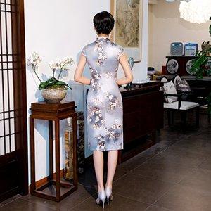 elegant Temperament Retro-Elemente zeigen Körperlinie Frau beiläufige Kleider Chinesen cheogsam echten Seidenstoff gespalten