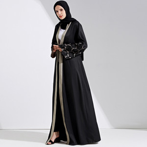 Fashion islamic lace stitching muslimah jubah female Arab fashion great quality maxi plus size muslim cardigan abayas wq1160