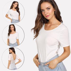 2020 Recém-Verão Casual Mulheres Tops manga curta O-Pescoço Sólido Branco Voltar Lace Floral Fino T-shirt Tops