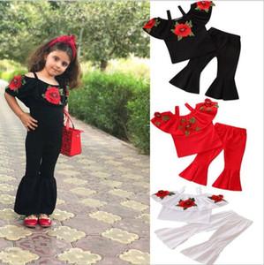 Toddle vestiti regolati ragazze dei capretti Ins ragazze del vestito di rosa del fiore sling cime bell-bottom dei pantaloni dei bambini senza spalline Tops pantaloni gamba larga C589