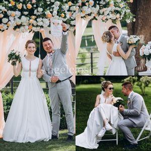 Country Garden vestidos de casamento Stain 2019 Jewel mangas Abrir Voltar Varrer Train Modest simples Um nupcial Linha Vestidos Vestido De Novia Baratos