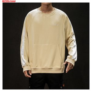 Dropshipping Autumn Japanese Solid Pullover Male Streetwear Patchwork Outwear Hoodies 2019 Mens Causal Pocket Tops