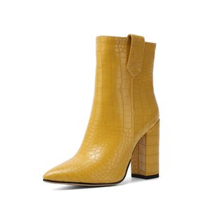 تصميم فو جلدية الكاحل أحذية للمرأة ساحة كتلة كعب قصير أحذية السيدات أصفر أسود بني أبيض 2019 في فصل الشتاء