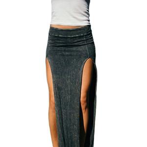 2017 verano otoño mujeres faldas largas hasta el tobillo sexy falda de división alta falda recta larga femenina Saias falda de las mujeres Y19043002