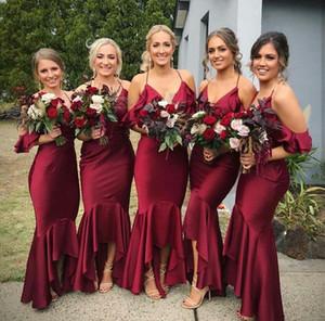 Бургундия Mermaid невесты платья Холтер African Пром платья Длинные Дешевые Высокая Низкая Свадебные платья для гостей горничной честь Gowns