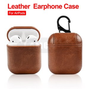 For Airpods Cases Protective Cover PU Leather Hook Clasp Keychain Anti Lost Fashion headphoens Apple airpod Earphone Case Protector