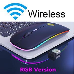 Computer Mouse sem fio RGB Mouse Bluetooth silencioso recarregável Ergonomic Mause Com LED retroiluminado USB Ratos Óptico para PC portátil
