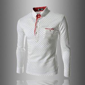 Lapel Mens Autumn Print Polos Spring Polka Designer Shirt Slim Long Male Polo Dot Henley Button Sleeve Neck Casual Neck Fit Clothes Hiwvp