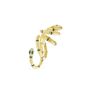Personality Women Earring Yellow Gold Plated Colorful CZ Snake Earring Clip On for Girls Women for Party Wedding Gift for Friend