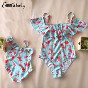 Cartoon 2018 Famille Matching Flamingos Maillots de bain Mère fille bébé fille Flamingo Bikini Maillots de bain Beachwear