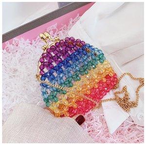 Color Beaded Evening Bag Small Crossbody Clip Bags For Women Evening Clutch Bags Hasp Ladies Handbag Female Messenger Bag 2020
