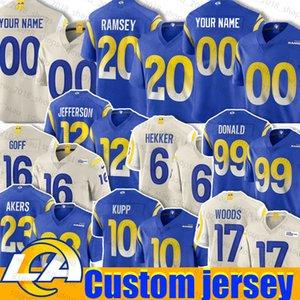 Los Angeles 20 Jalen Ramsey Jersey personalizado Ram 10 Cooper Kupp 23 Cam Akers Robert Woods Johnny Hekker Van Jefferson Aaron Donald Darrell Hend