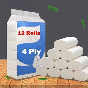 Blanc Papier toilette 12 Rouleaux en vrac tissu 4 Ply individuellement Wrap de papier hygiénique Salle de bains ultra solide papier doux Flush comprimé