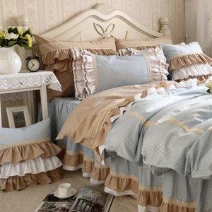 New Classic Blue Lace Bedding Set Flounces Lattice Block Process Princess Bedding Ruffle Duvet Cover Bedskirt Bed Sheet Sets T200415