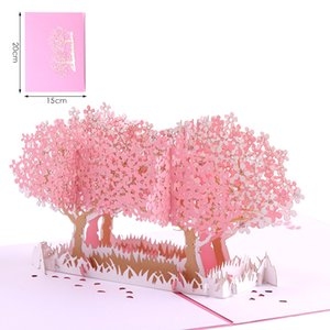 Sakura 3D Card Anniversary Card Birthday Christmas New Year Valentine's Day Wedding Romantic Unique Pop-up Greeting Card HC17