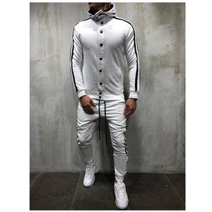 Litthing Zipper Tracksuit Men Set Sport 2 Pieces Sweatsuit Mens Clothes Printed Hooded Hoodies Jacket & Pants Track Suit Men