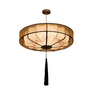 Moderno chino redondo del estilo de la tela de la lámpara pendiente del restaurante Inicio Sala de la lámpara de la decoración del techo del accesorio ligero PA0580