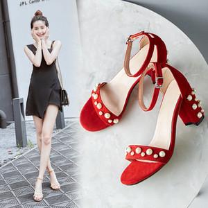 Ebullient2019 Una hebilla de verano traen Red Pearl Pequeño 33 gruesa con sandalias de punta Cifrará ovejas Back Down Señora de calzado