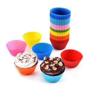 Fodere del muffin del silicone di trasporto libero Casi della muffa della muffa Casi della torta della tazza di forma rotonda Strumenti Bakeware di cottura della pasticceria Strumenti muffa della torta