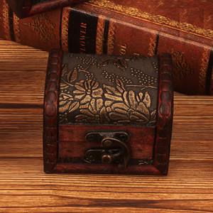 11styles joyería de la vendimia Patrón caja de almacenaje del organizador del caso de madera Mini flor del metal del envase de madera hecho a mano pequeña dulces Cajas FFA3153