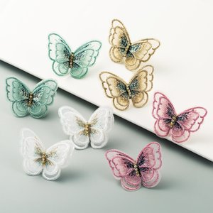 Charm Embroedery Butterfly Statement Stud Earring for Woman Vintage Solid Color Lace Dangle Earring Girl Blogger Dress Accessory