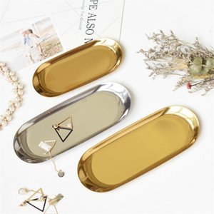 Новый красочный металл хранения Tray Золотой Овал Пунктирная фрукты мелких предметов дисплея ювелирных изделий лотка Зеркало