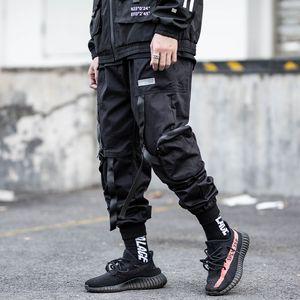 Männer Elastic Waist Harem Pant Men Street Ribbons Punk Hip Hop Hosen Jogger Multi-Tasche Male Pants