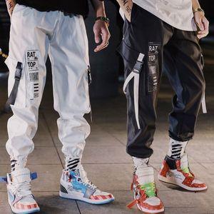 Mens Pants Hip Hop Streetwear Uomini Harem Cargo Pants Jogger Pantaloni sportivi Solid pantaloni di lunghezza Colore Nero Bianco caviglia