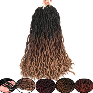 Déesse Locs Curly crochet Tresses 18 pouces Extension cheveux doux naturel synthétique 18 Supports / Paquet Faux Locs