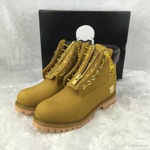 Nueva llegada Hombres mujeres Cráneo Madera 6 pulgadas Montañismo zapatos de trigo senderismo Entrenadores botas grandes botas de registro de árbol con caja venta caliente