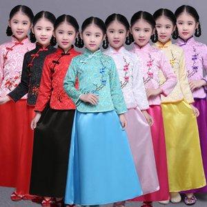 Прекрасный китайский Древняя леди одежда Детская Tang Dynasty Princess Костюм Hanfu Cosplay Halloween Party одежда Top + платье