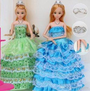 """12 Moveable Instância Comum Princesa Bebê Boneca 30 centímetros 11"""" Wedding Design Vestido suíte kids Toy Brinquedo Presente da menina"""