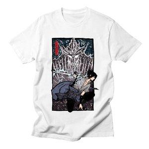 Naruto Uchiha Sasuke Tshirt Men Short Sleeve Casual Cool Hipster Brand Fashion Anime Summer Streetwear White T Shirt Men Cotton