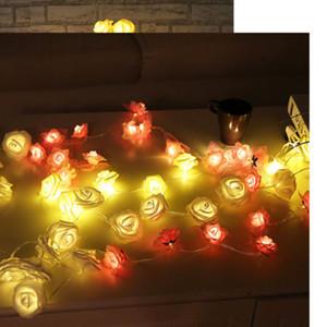 화이트 크리스마스 요정 문자열 로즈 모양 조명 웨딩 크리스마스 파티 축제 야외 장식 램프를 따뜻하게