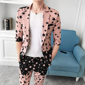 Blazer+Pants 2020 Autumn Men's suit Groom Wedding Dress Plaid Star Print Formal Suits 2 PCS set Men Casual Men Suit