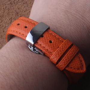 Orange Genuine leather Watchbands Wrist Watch Straps watchbands Silver Stainless steel Butterfly buckle 14mm 16mm 18mm Lizard pattern band