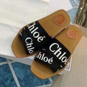 Chloe sandals luxe Mode féminine lettre flip flop design coton d'été de tissu chaussures de plage pantoufles plat de haute qualité Xshfbcl