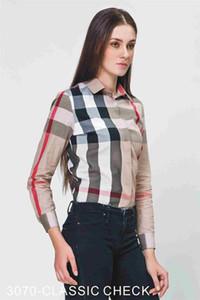 Langarm-Streifen-Frauen der beiläufigen Hemdfrauen der Frauen dünnes Frauen T-Shirt neue Art und Weise Plaid # C03