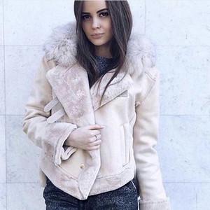 Damen Lederjacken Wintervelourslederjacke Frauen Short Lamb Wolle Motorradjacke Thick Lämmer Pelz-warmer Mantel