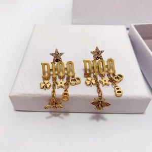 Super populares clássicos carta borla designer de brincos de diamante de luxo designer de jóias mulheres brincos