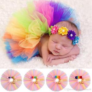 INS recém-nascido saia tutu com flor headband 2 pçs / set bebê meninas aniversário fotografia adereços crianças halloween princesa roupas de festa 4 cores