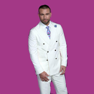 Горячие продажи двубортный Свадебные смокинги Slim Fit Костюмы для мужчин Шафера костюм Две пьесы Дешевые Пром Формальные костюмы (куртка + брюки + галстук) 302