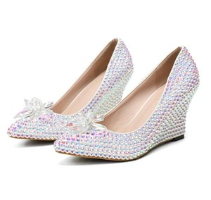 European and American fashionable woman high quality water drills slope with crystal wedding shoe bride formal dress shoe banquet party shoe