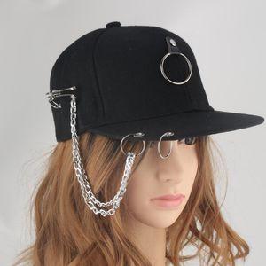 Dad Hat Creative Piercing Pin Metal Ring Baseball Cap Punk Hip Hop Caps Cotton Adult Adjustable Solid Black Chain Unisex Hats