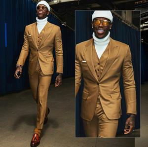 Yüksek Kaliteli Brown Erkekler Smokin Groom Suit Yaka İnce Fit Peaked Bir Düğme İş Prom Parti Blazer Ceket (Ceket + Yelek + Pantolon)